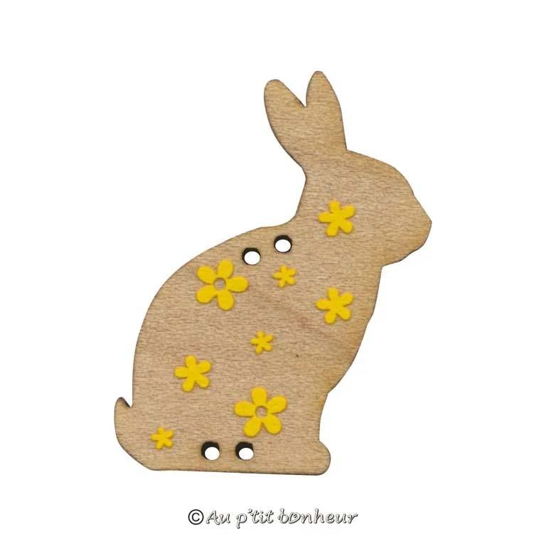 Bouton lapin fleuri motif jaune ble084d 082