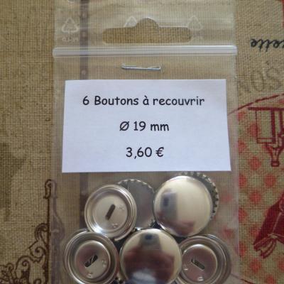 6 Boutons à recouvrir en métal argenté Ø 19mm