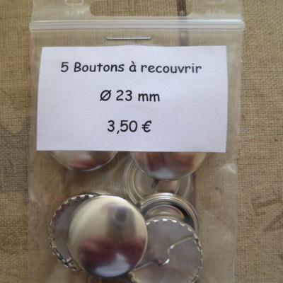 5 Boutons à recouvrir en métal argenté Ø 23mm