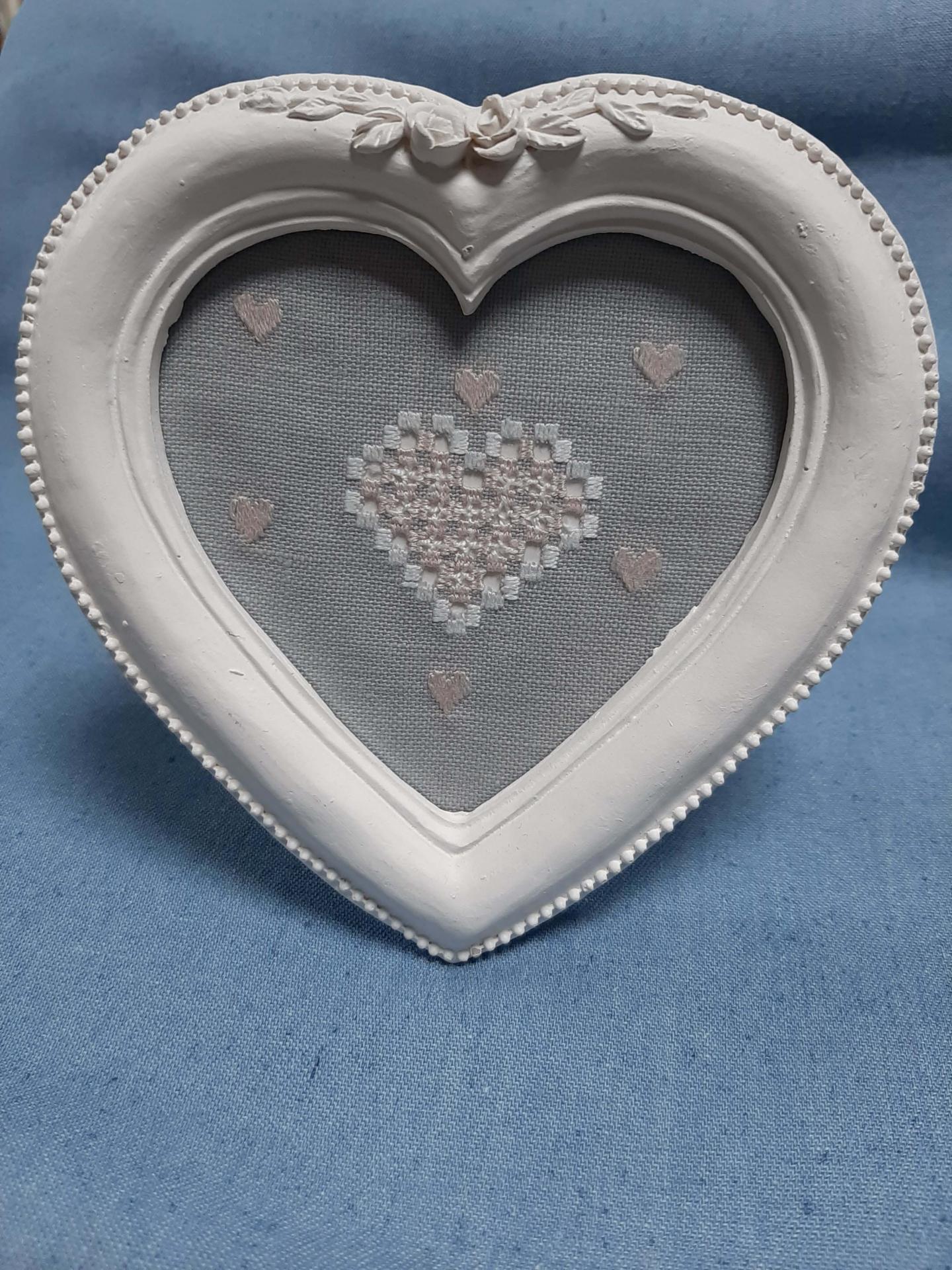Cadre coeur hardanger gris et rose