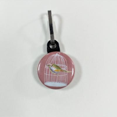 Tirette zip  badge fermeture éclair Cage à Oiseau