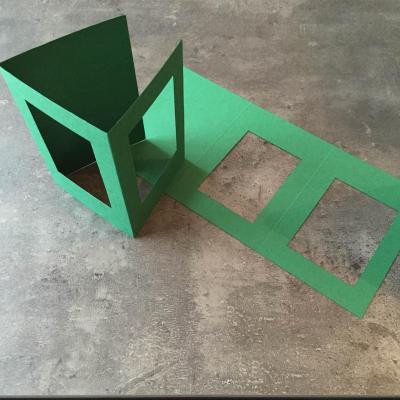 Carte à broder Verte Double Fenêtre Rectangulaire