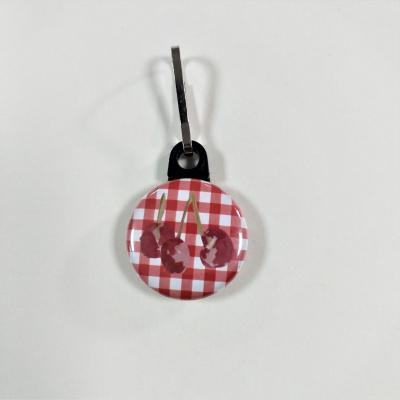 Tirette zip  badge fermeture éclair Cerise tissu Vichy Rouge