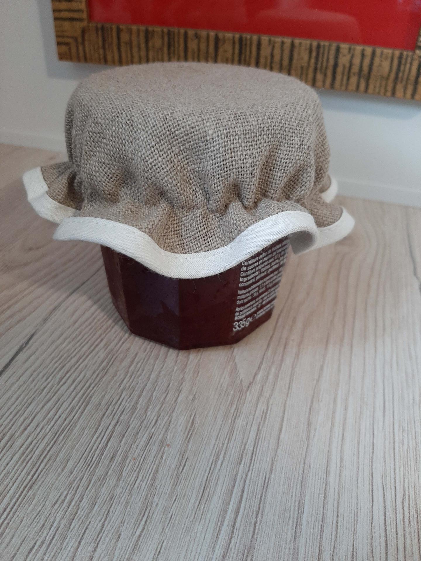 Chapeau de pot confiture a broder lin ecru 1