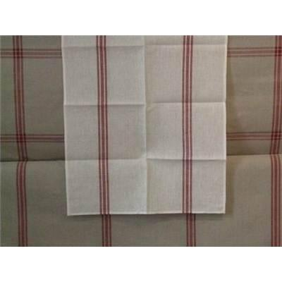Coupon de Lin 12 Fils naturel Rayures Rouges 50 x170 cm