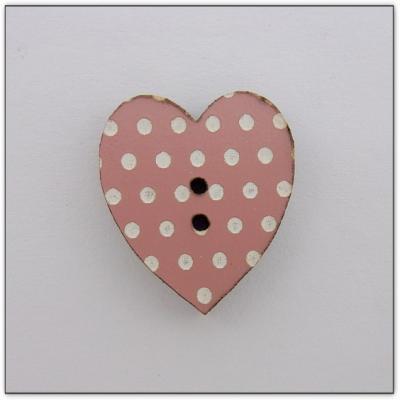 Coeur vieux rose pois blancs Z13080  Au P'tit Bonheur