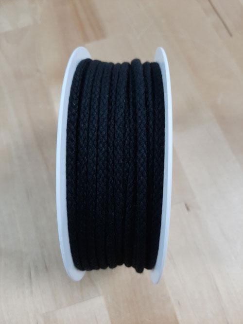 Cordon coton noir 4 mm