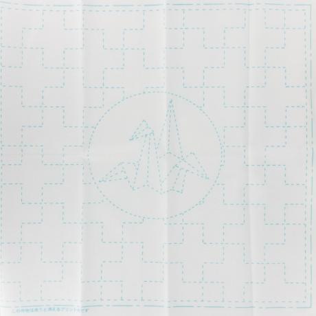 Coupon tissu sashiko blanc croix et grue en origami