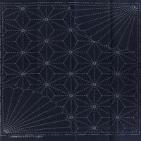 Coupon tissu sashiko navy chanvre et chrysantheme