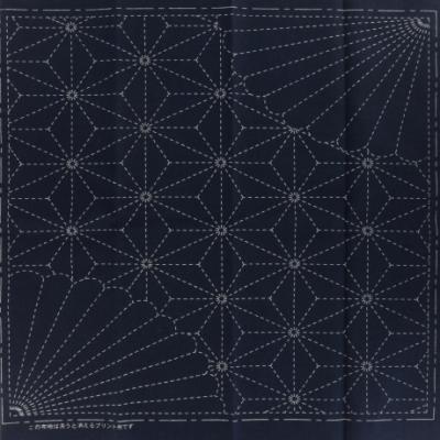 Coupon Tissu Sashiko Navy Feuille de Chanvre et Chrysanthème