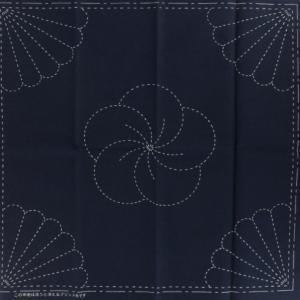 Coupon tissu sashiko navy chrysantheme