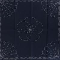 Coupon tissu sashiko navy chrysantheme