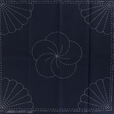 Coupon Tissu Sashiko Navy Chrysanthème