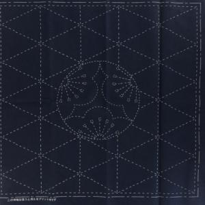 Coupon tissu sashiko navy motif de l ume abricotier du japon