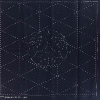Coupon Tissu Sashiko Navy Feuille de Motif de l'ume