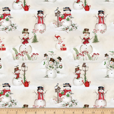 Tissu Patchwork December Magic Scenic Snowman Ecru 4890-085