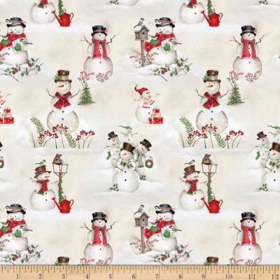 Tissu Patchwork December Magic Scenic Snowman Ecru 4890-085