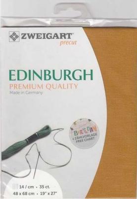Precut Toile à Broder Zweigart  Lin Edinburgh 14 Fils Sahara 4028 48x68 cm