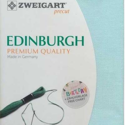 Precut Toile à Broder Zweigart  Lin Edinburgh 14 Fils Bleu Turquoise 5146 48x68 cm