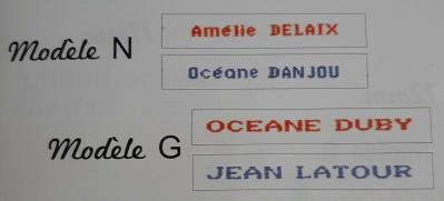 Etiquettes nom et prenom brodees pour vetements bleue et rouge modele n et g