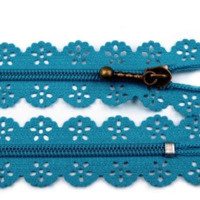 Fermeture à Glissière Dentelle 16cm 18cm 20cm Bleu Acier