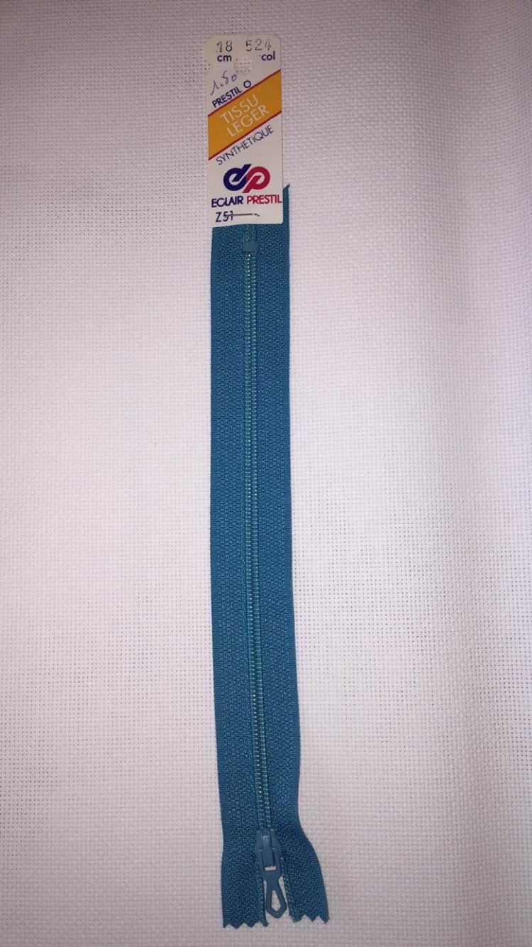 Fermeture eclair turquoise 18cm