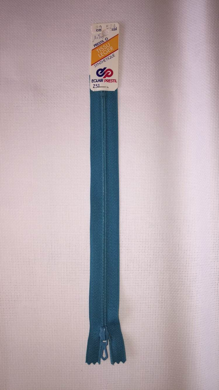 Fermeture eclair turquoise 20cm