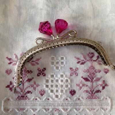 Fermoir Porte Monnaie Nickel avec Diamant en Cristal  Rose Vif 12,5cm