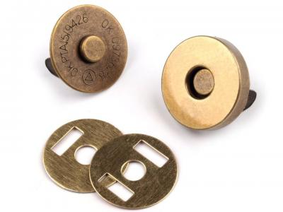 Lot de 2 Fermoirs Magnétiques en Métal Laiton Vielli Diamètre 18 mm