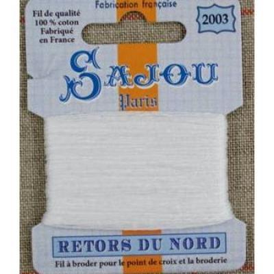 Fil à broder Retors du Nord Sajou carte 20 m - n°2003 Grand blanc