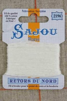 Fil à broder Retors du Nord Sajou carte 20 m - n°2196 Ivoire