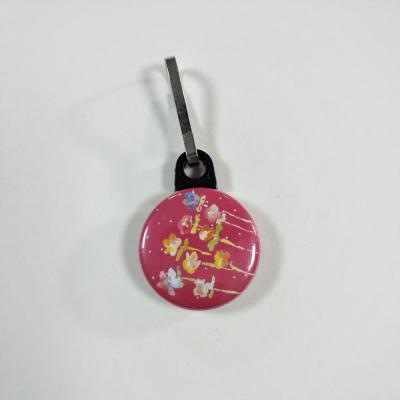 Tirette zip  badge fermeture éclair Fleurs sur fond Fuschia
