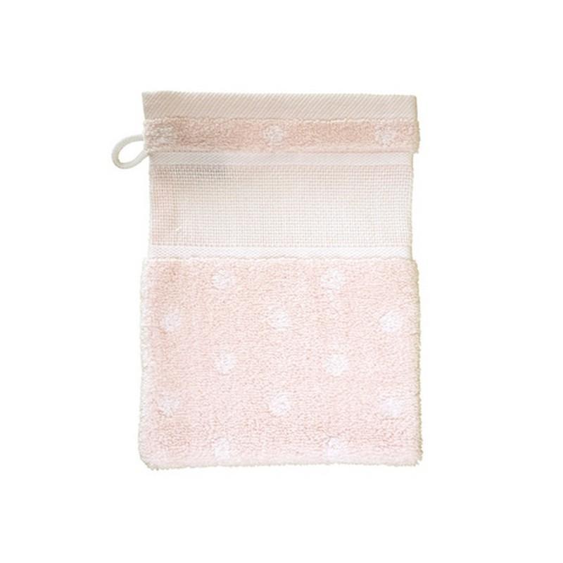 Gant de toilette rose poudre a pois rico