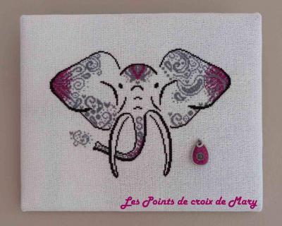 L'Eléphant + perle Les Points de Croix de Mary