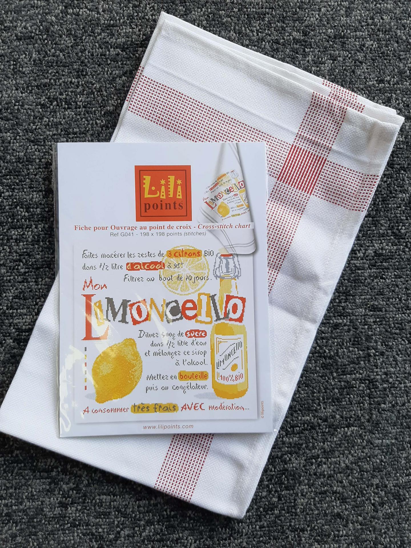Kit limoncello g041 lilipoints avec torchon bonn rouge et fils dmc