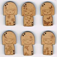 Lot de 6 Boutons Kokeshi