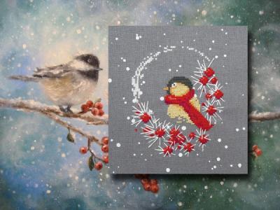 L'Oiseau et les flocons 1042 Au Fil de Martine