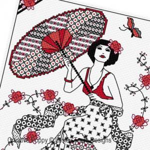 Lesley teare blackwork girl with parasol z1 500cr
