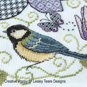 Lesley teare designs blue tit clematis blackwork z1jpg 500cr