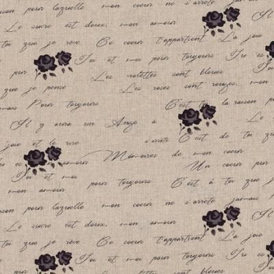 Tissus Patchwork Stof Lin Shabby Chic Fleurs Prune ST18-142