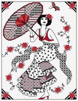 Blackwork Girl with Parasol 'Dame au parasol' Lesley Teare