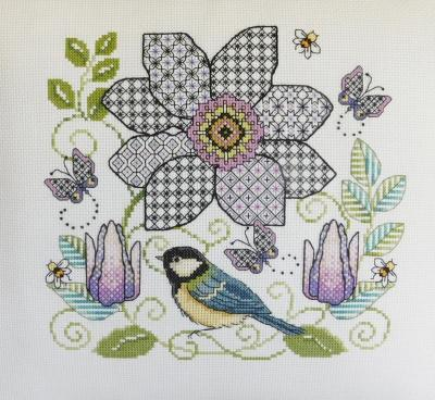 Blackwork Clematis flower and Great tit 'Clématite et Mésange Lesley Teare