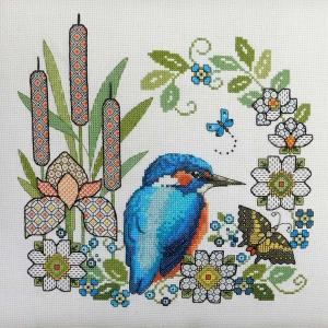 Ljt307 blackwork iris and kingfisher new 2