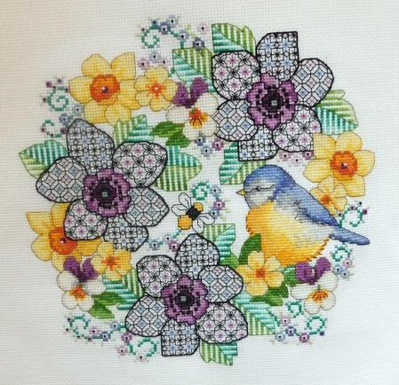 Ljt322 blackwork anemones and blue tit
