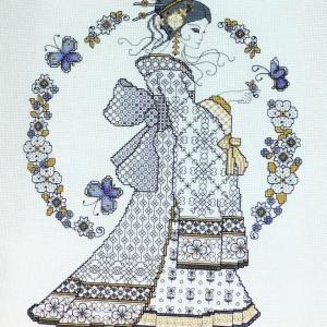 Ljt353 blackwork oriental beauty 1