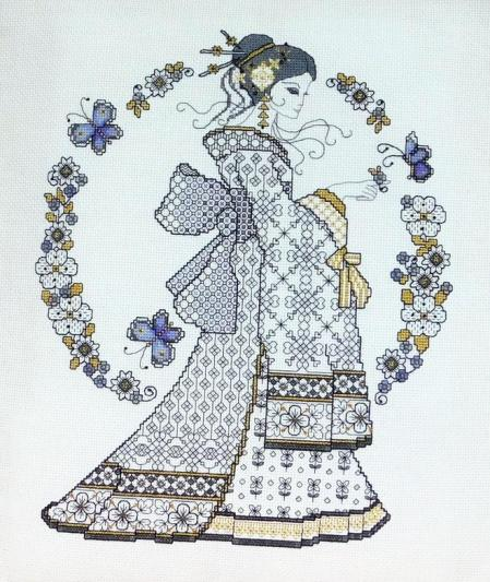 Ljt353 blackwork oriental beauty 1