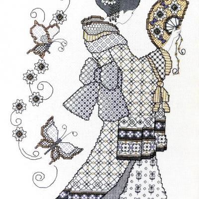 Blackwork Oriental charme 'Charme Orientale' Lesley Teare