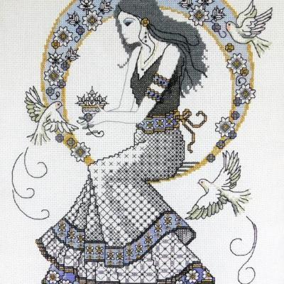 Blackwork Autumn Lady 'Belle de L' Autumn' Lesley Teare