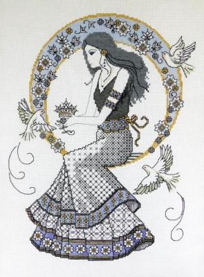 Blackwork Autumn Lady 'Belle de L' Autumn' Lesley Teare
