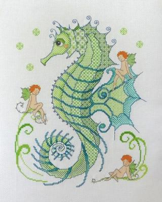 Blackwork Seahorse and Friends 'Hippocampe' Lesley Teare